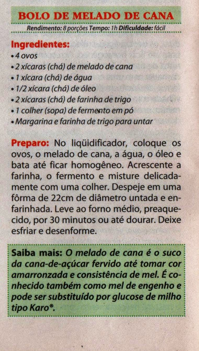 RECEITA DE BOLO DE MELADO DE CANA