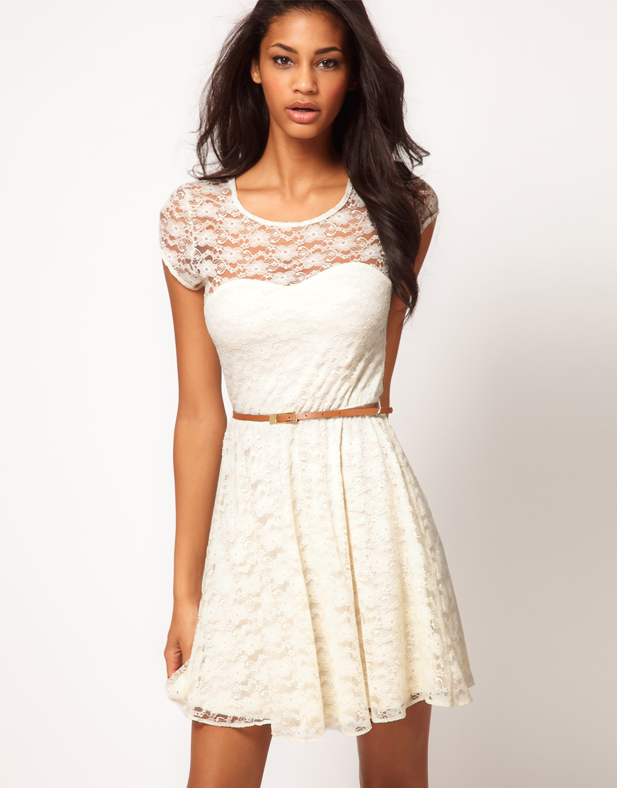 White Lace Skater Dress with Belt