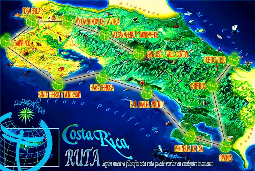 RUTA PREVISTA PARA COSTA RICA
