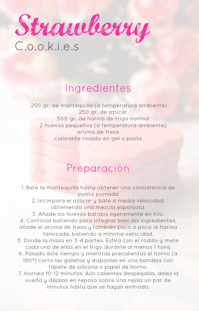 Strawberry Cookies: Galletas de fresa (para decorar), delicadas y...riquísimas
