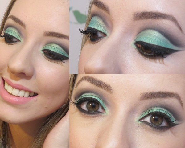 Maquiagem para olhos técnica Cut Crease na cor Verde