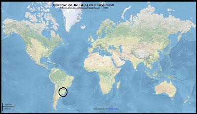 Ubicacion de URUGUAY en el mapamundi, OpenStreetMap