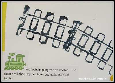 photo of: Train Track Printmaking with Story in Preschool via RainbowsWithinReach