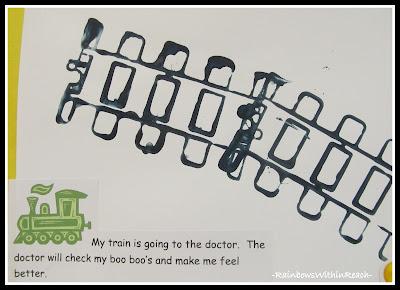 photo of: Train Track Printmaking with Story in Preschool via RainbowsWithinReach