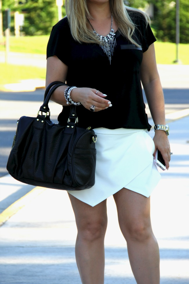 White Asymmetric Shorts - Zara, Black Top - TJ Maxx, Accessories - Boy Meets Girl, Joseph Nogucci and some for my closet, Necklace - Nordstrom, Black Onyx and Silver Ring - David Yurman, Bag - Steve Madden via Nordstrom Rack