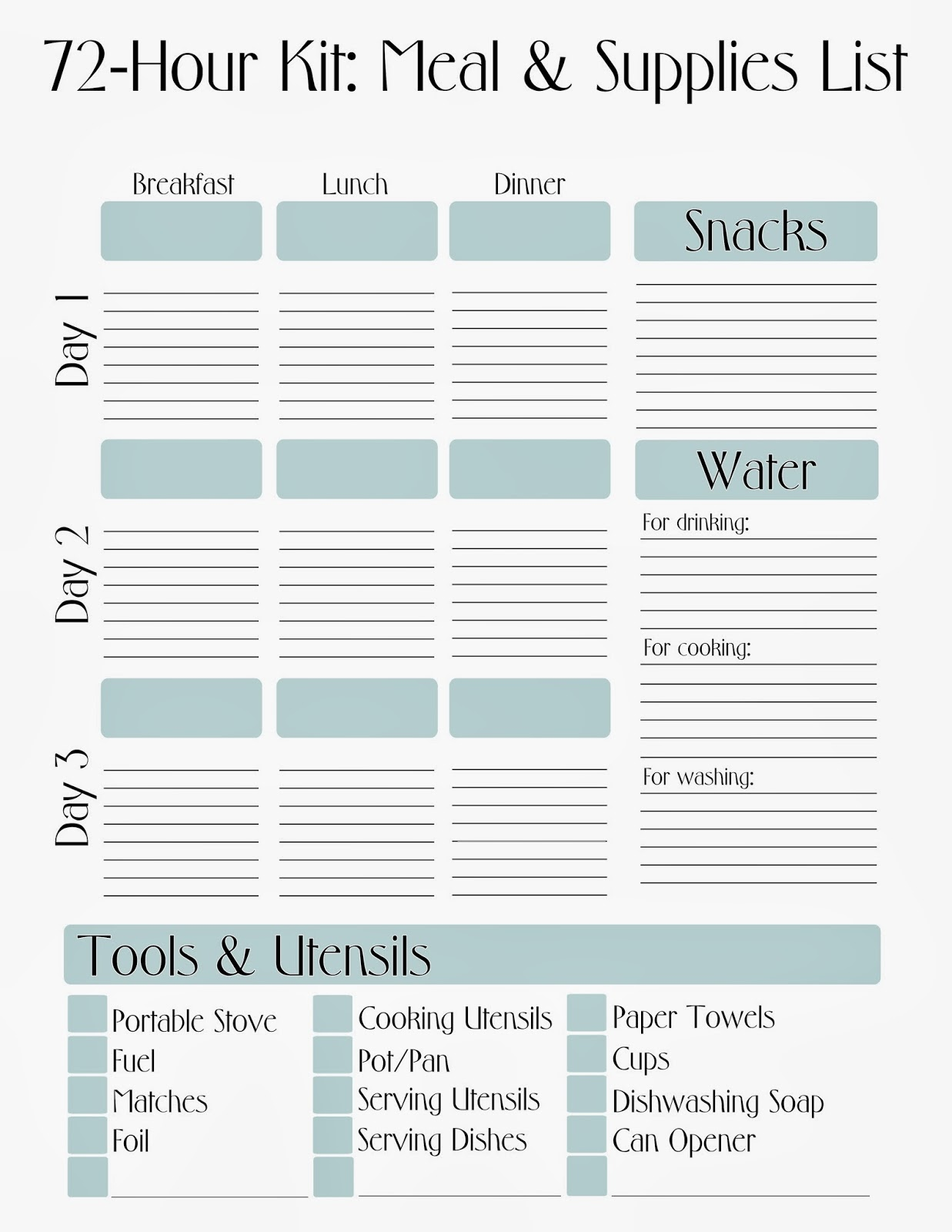 Free Printable 72 Hour Kit Meal Supply List