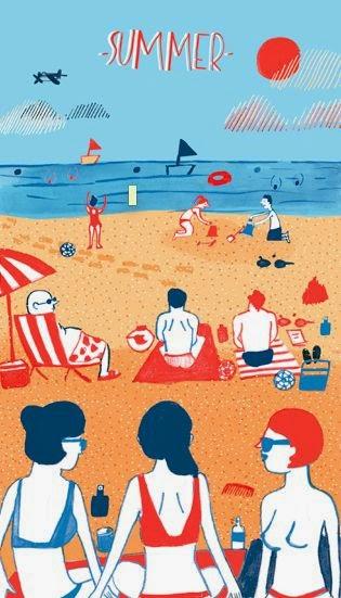 summer at the beach illustration by Cachetejack