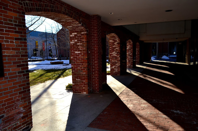 Salem Armory, Salem, Massachusett, shadows, bricks