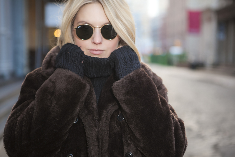 J.Crew chunky turtleneck, faux fur coat, Ray-Ban Lennon sunglasses, Fashion Over Reason