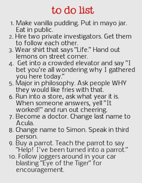 Funny Things to Do List