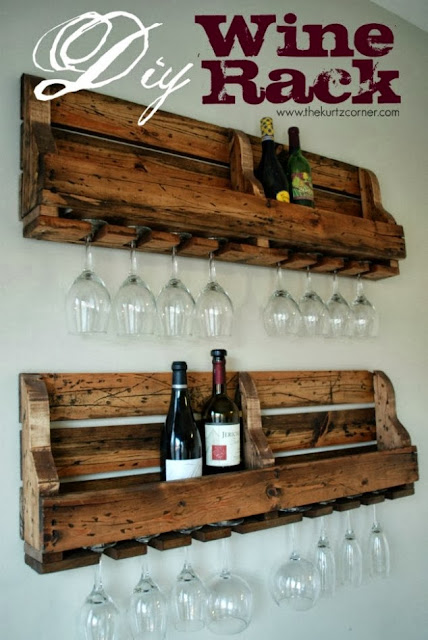 diy rustic wine rack