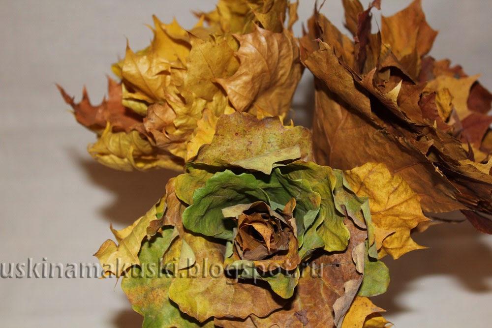 Цветы из дубовых листьев своими руками 12