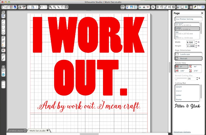 "DIY Graphic Tee Design: ""I work out.  And by work out, I mean craft."" www.pitterandglink.com"