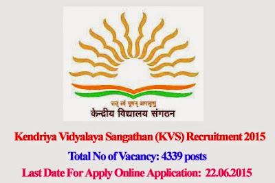 Kendriya Vidyalaya Sangathan (KVS) Recruitment 2015 Application Form for 4339 Primary Teacher, Clerk, Librarian Posts
