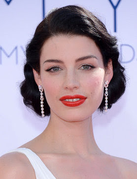 Mad Men actress Jessica Pare old school Hollywood glamour with glossy dark hair.