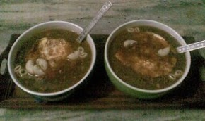 chicken soup with macaroni and poached egg on top, one of my favorite dinners..