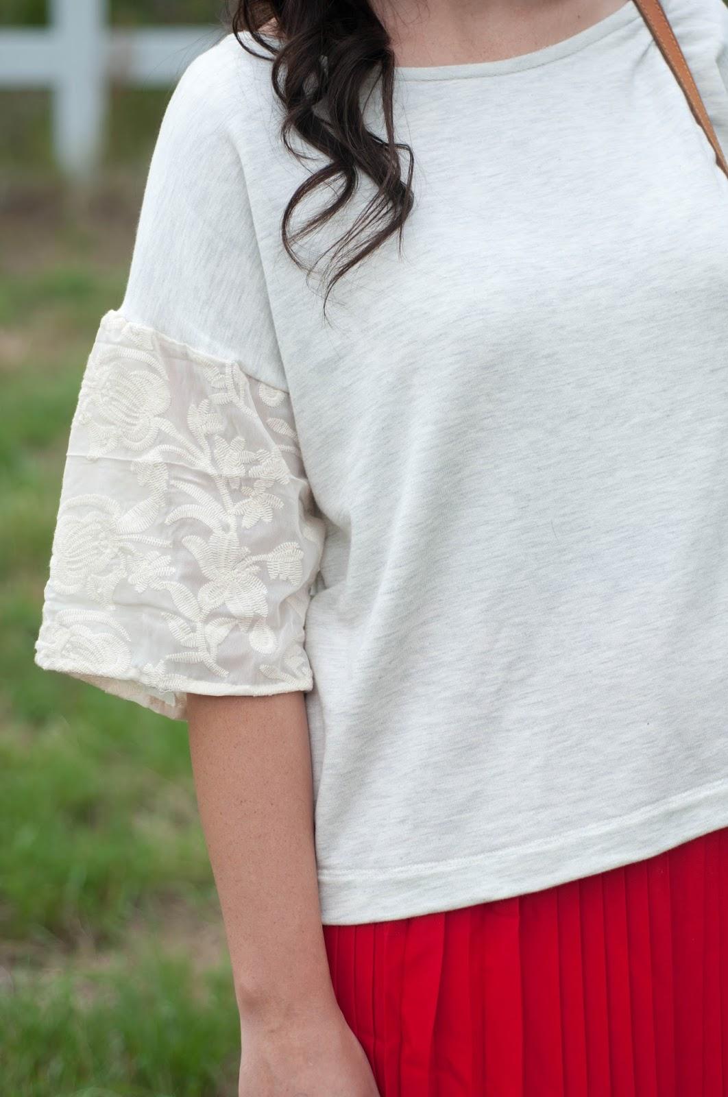 lace sleeves, big sleeves, anthropologie top, anthropologie ootd, lands end skirt, curly brown hair