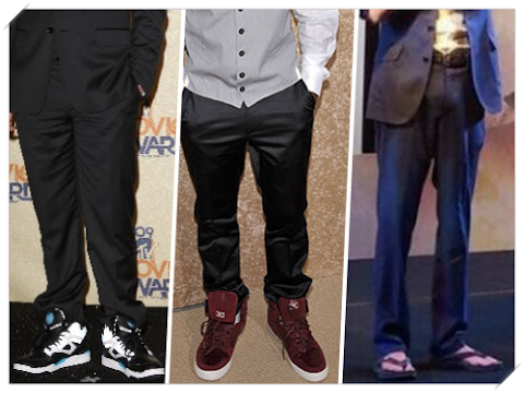 Suit with huge sneakers and sandals?? That feels so wrong!!