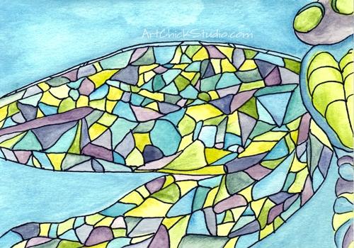 Mosaic Dragonfly Watercolors