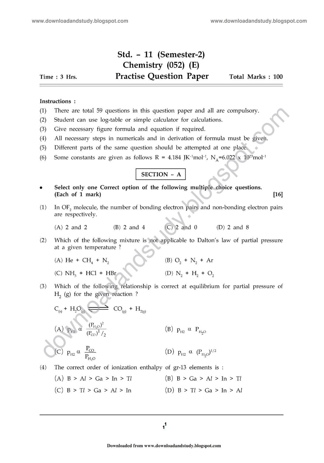 Download study chemistry sem 2 practise paper 1 gshseb practise paper gujarat board 11th science stream semester 2 chemistry 052 e malvernweather Choice Image