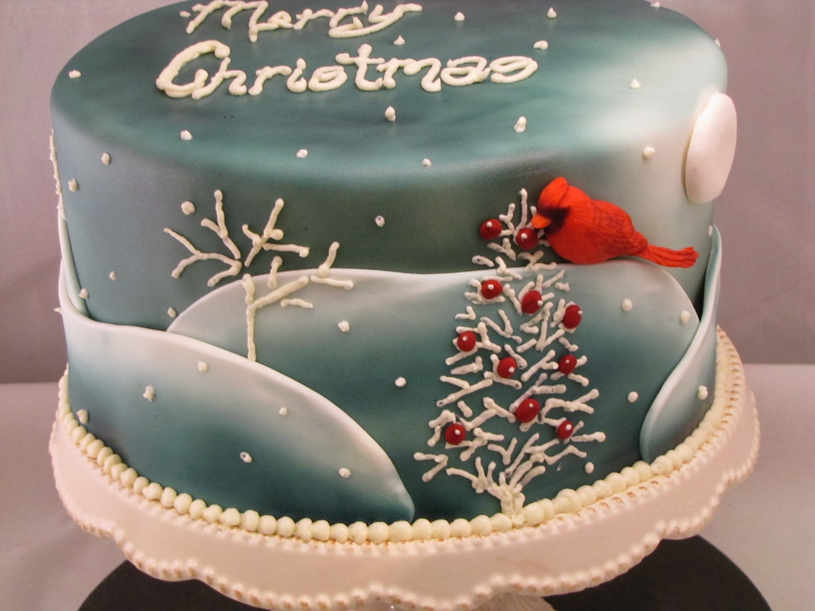Fondant Cake Designs For Christmas : TJ Happy Cakes: Cardinal Christmas Cake
