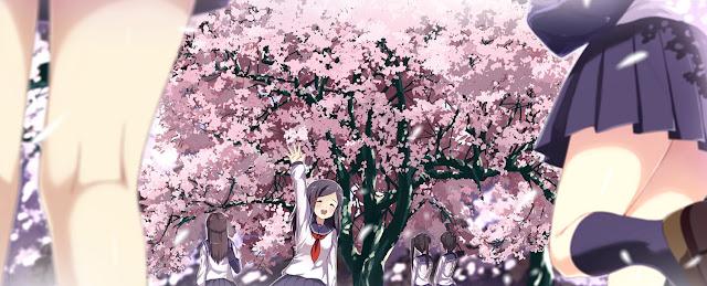 anime girls,anime pink,anime scenery