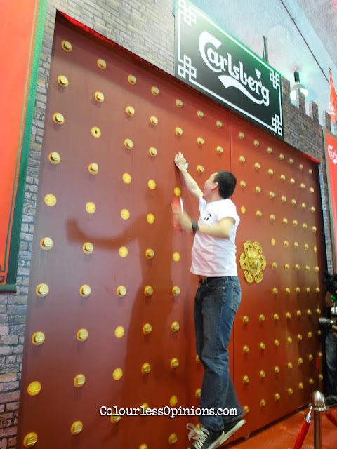 Mock gold coins gate at Carlsberg Malaysia CNY media launch at STC Selangor Turf Club