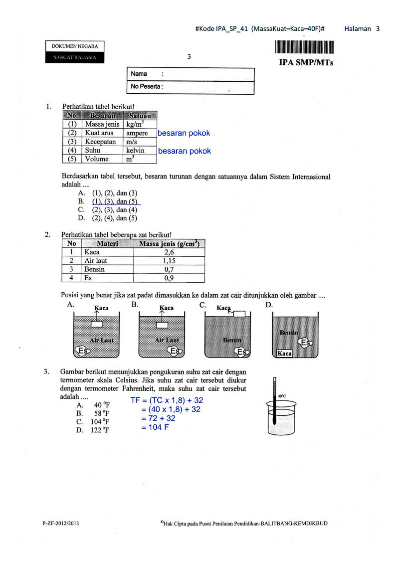 Bank soal un ipa smp - Soal Dan Pembahasan Un Ipa Paket 41 Kelas 9 Smp Ta 2012 2013 4 5 5 Han Doko Wednesday March 19 2014