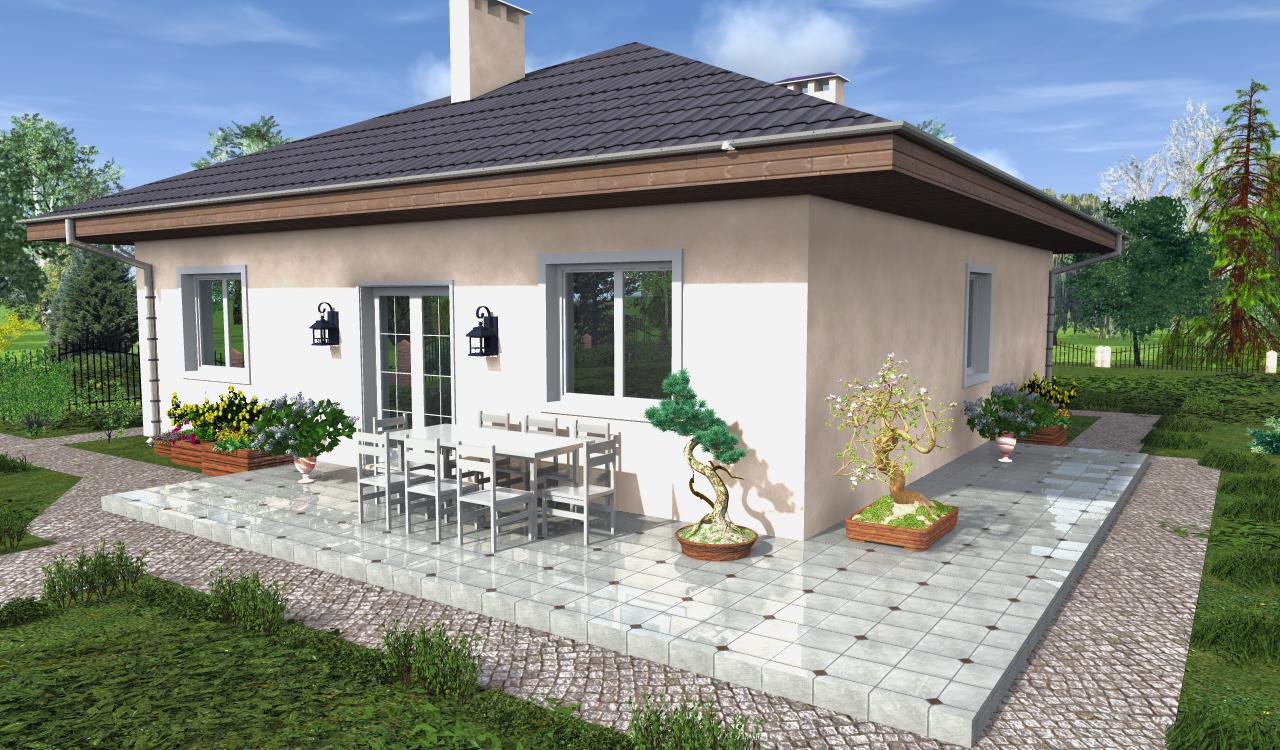 Проект одноэтажного дома в 3д модели