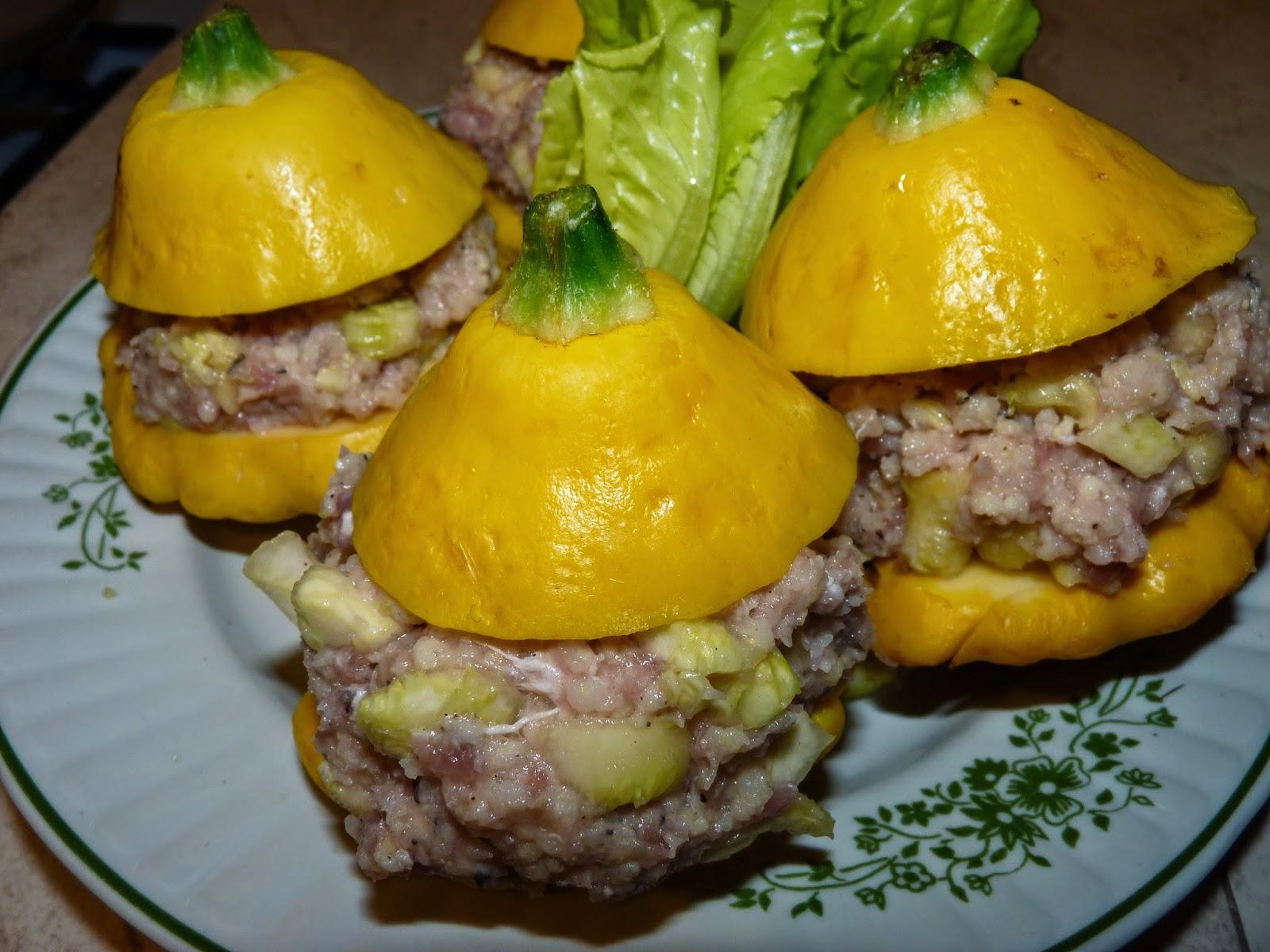 Patisony faszerowane mięsem i kaszą jaglaną
