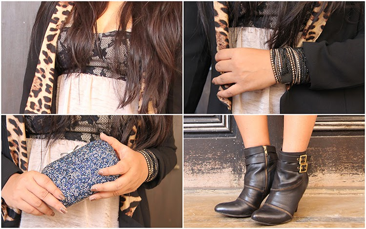 Clutch, swarovski bracelet, boots and animal print