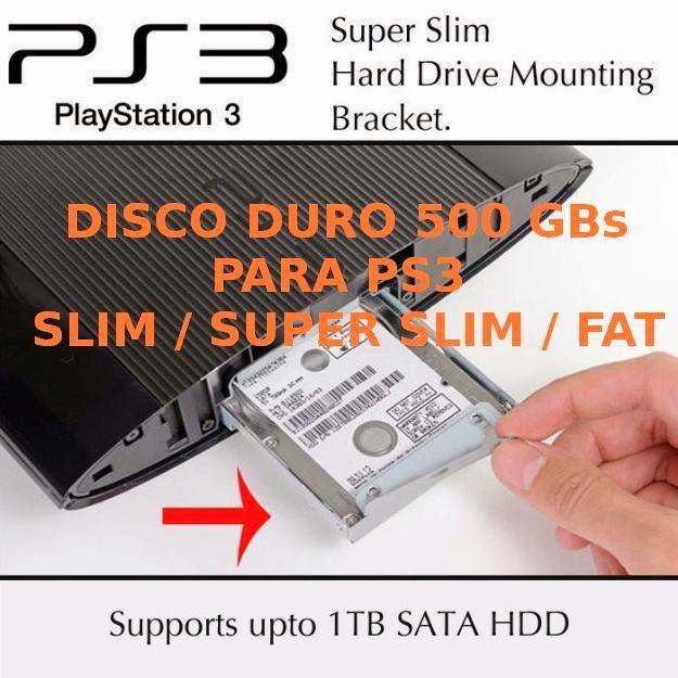 adaptadores para poder instalarles un disco duro de 500 GB o 1 Terabyte a los PS3 Super Slim de 12 GB