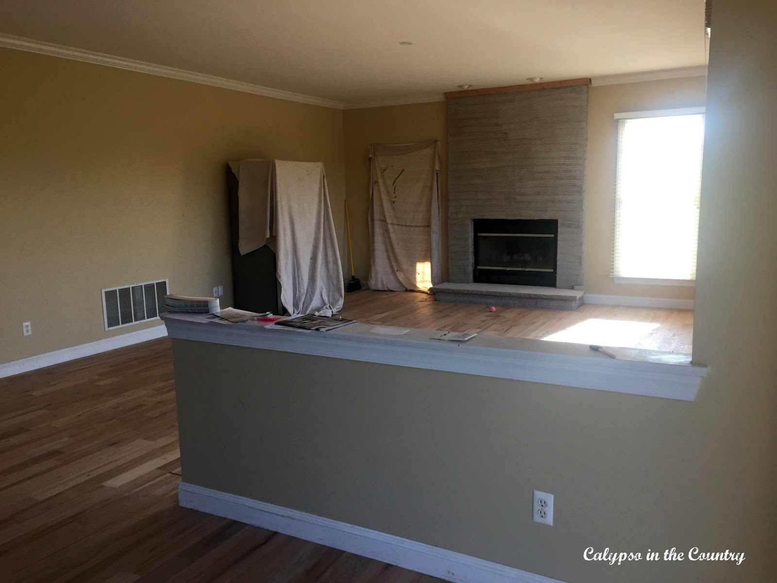 Renovation progress the half wall calypso in the country - Half wall kitchen designs ...