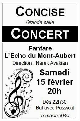 Concise, fanfare, L'Echo du Mont-Aubert, concert annuel, 15 février 2014