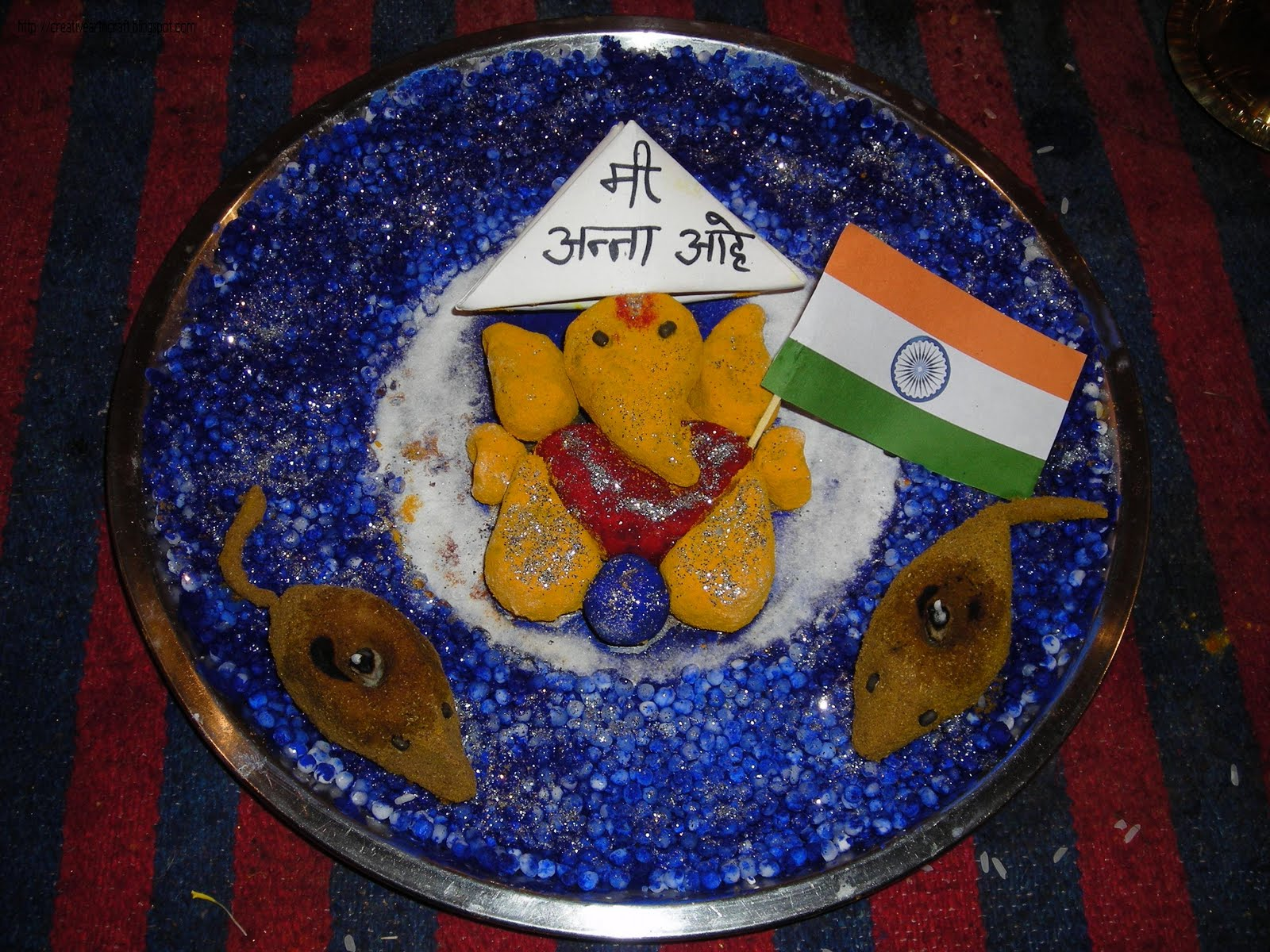 Anu 39 s art and crafts thali decoration eco friendly for Aarti thali decoration with grains