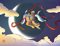 toad in Chinese costume flying to the moon