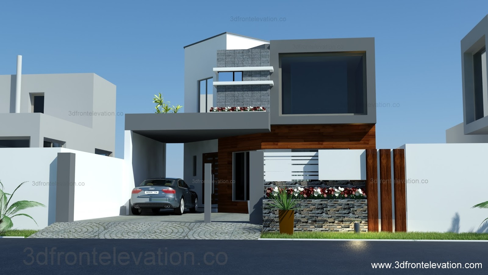 3d Front Elevation Of 5 Marla Houses : D front elevation marla house plan layout