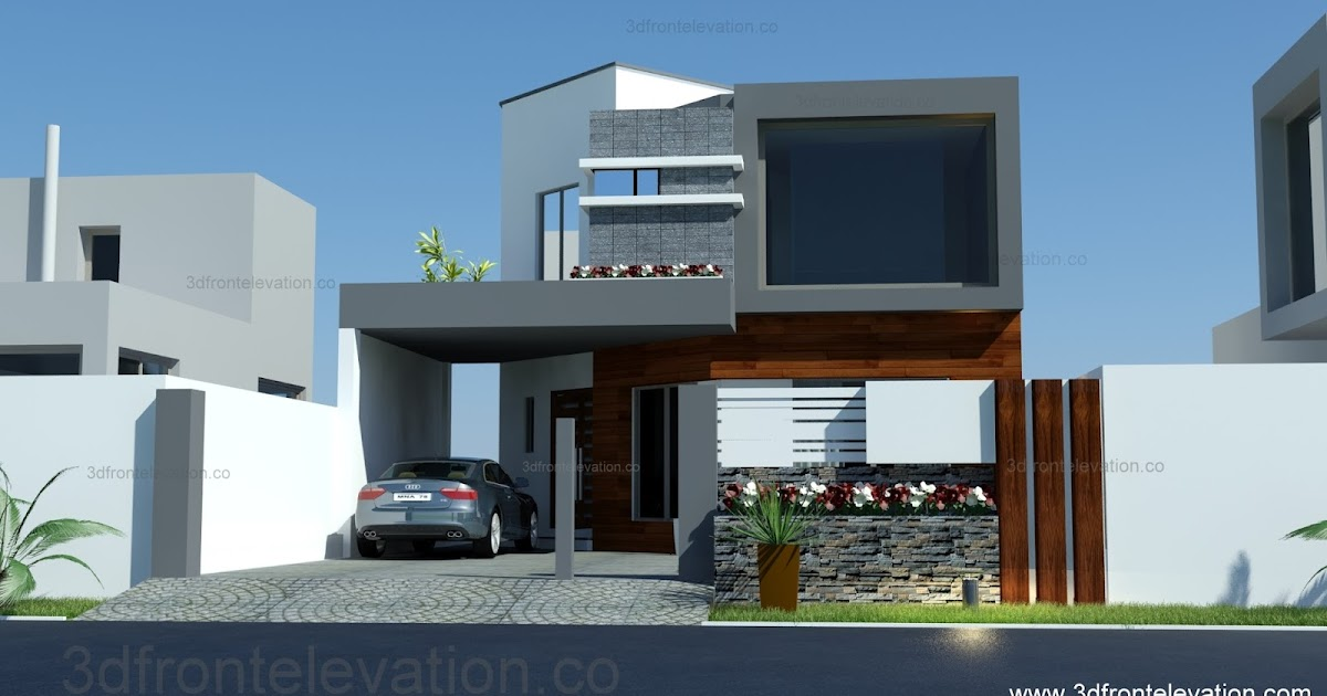 3d front 8 marla house plan layout elevation for 5 marla house modern design