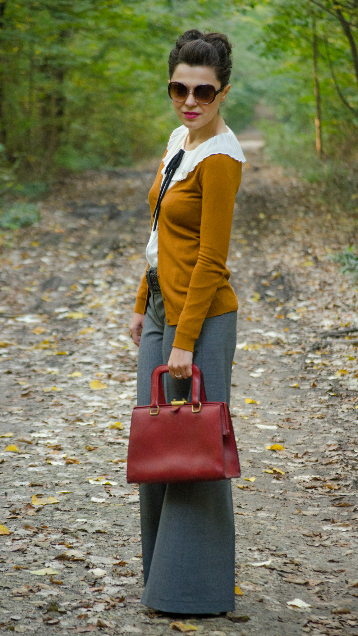 grey flare pants peter pan collar ivoire shirt black bow tie burgundy bag autumn outfit forest cardigan