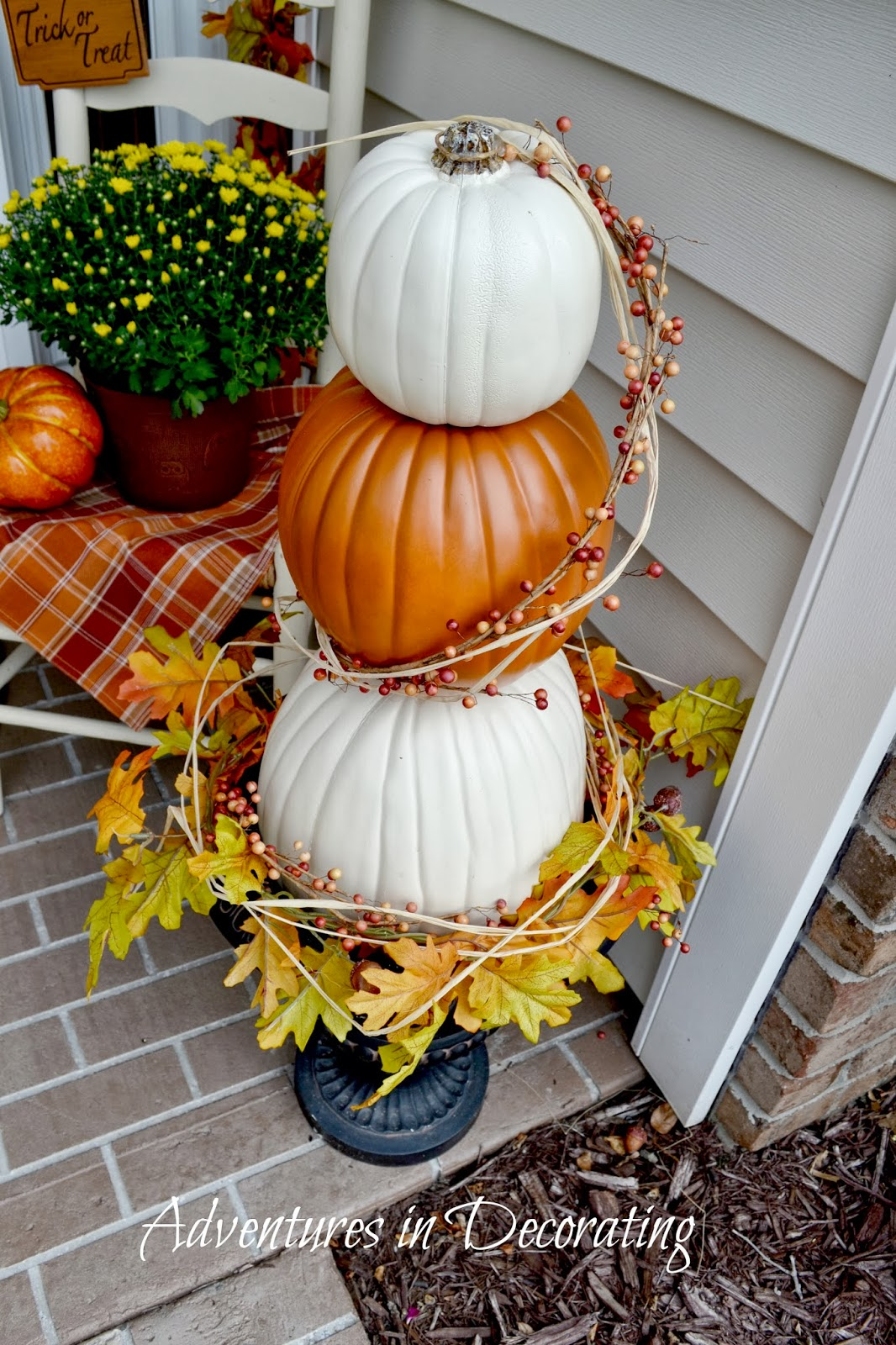 Adventures in decorating our fall front porch Fall outdoor decorating with pumpkins