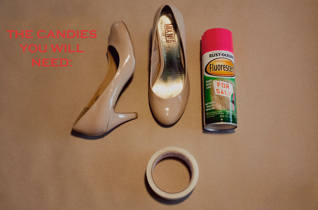 to chip packing tape old towels to protect your shoes when you spray. Black Bedroom Furniture Sets. Home Design Ideas