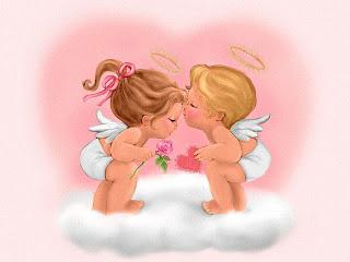 Angelitos bebes entre las nuves