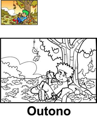 Estaciones del año para colorear : Otoño ~ 4 Dibujo