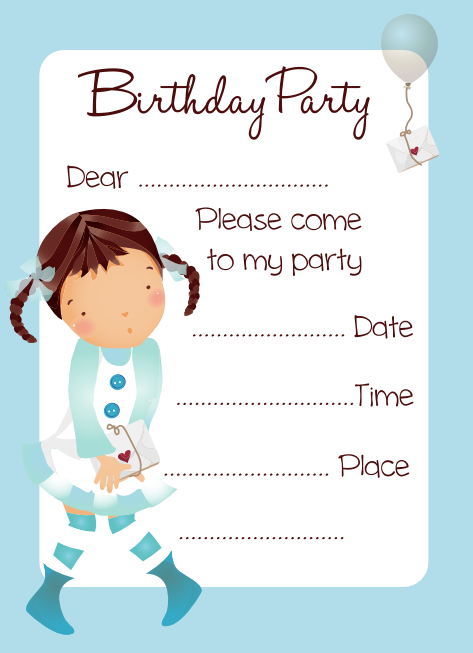 Balloon girl birthday party invitation free download cute balloon girl birthday party invitation filmwisefo
