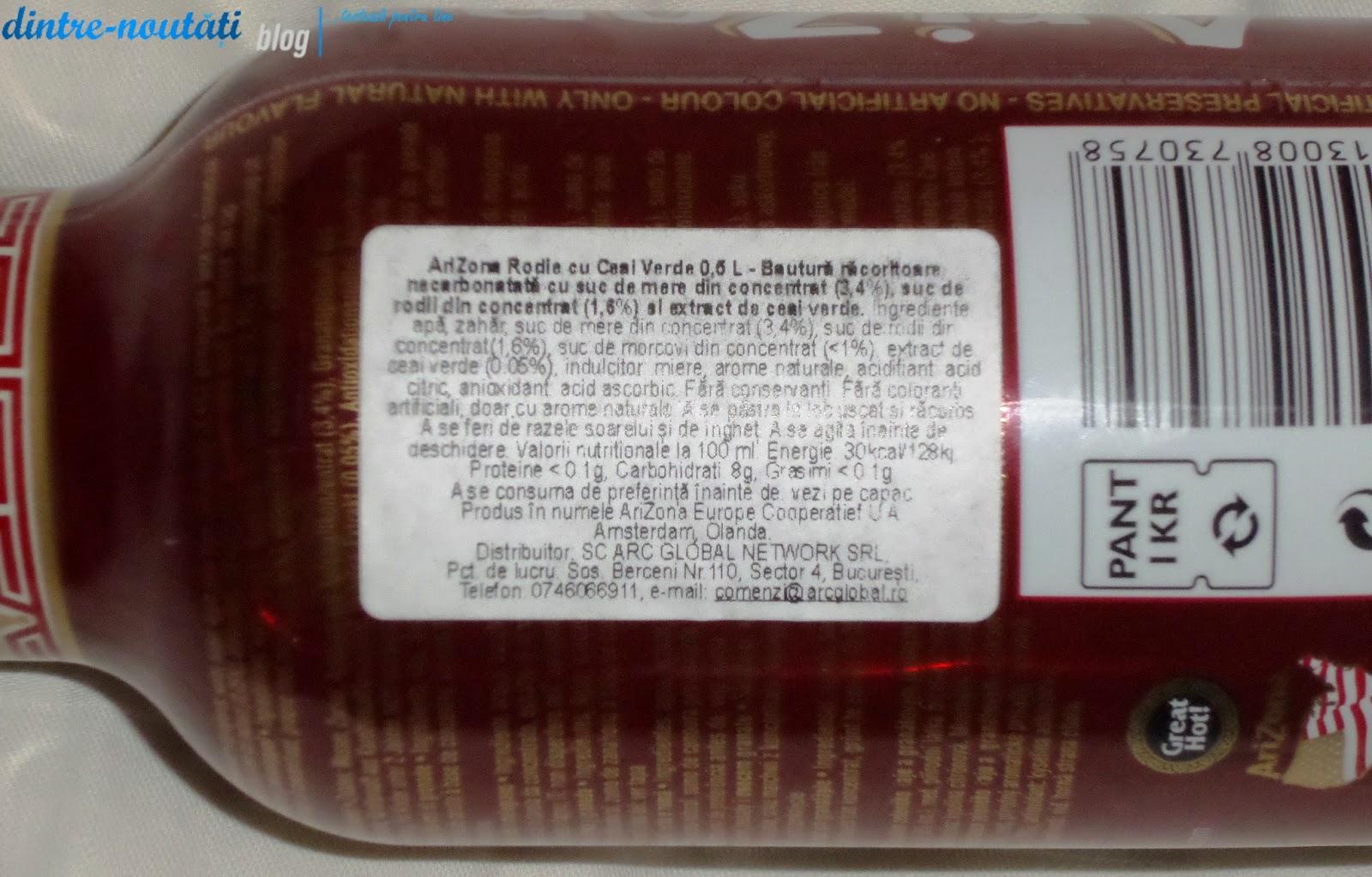 AriZona Rodie cu Ceai Verde 0,5 L - Băutură răcoritoare necarbonată cu suc de mere din concentrat (3,4%), suc de rodii din concentrat (1,6%) și extract de ceai verde.