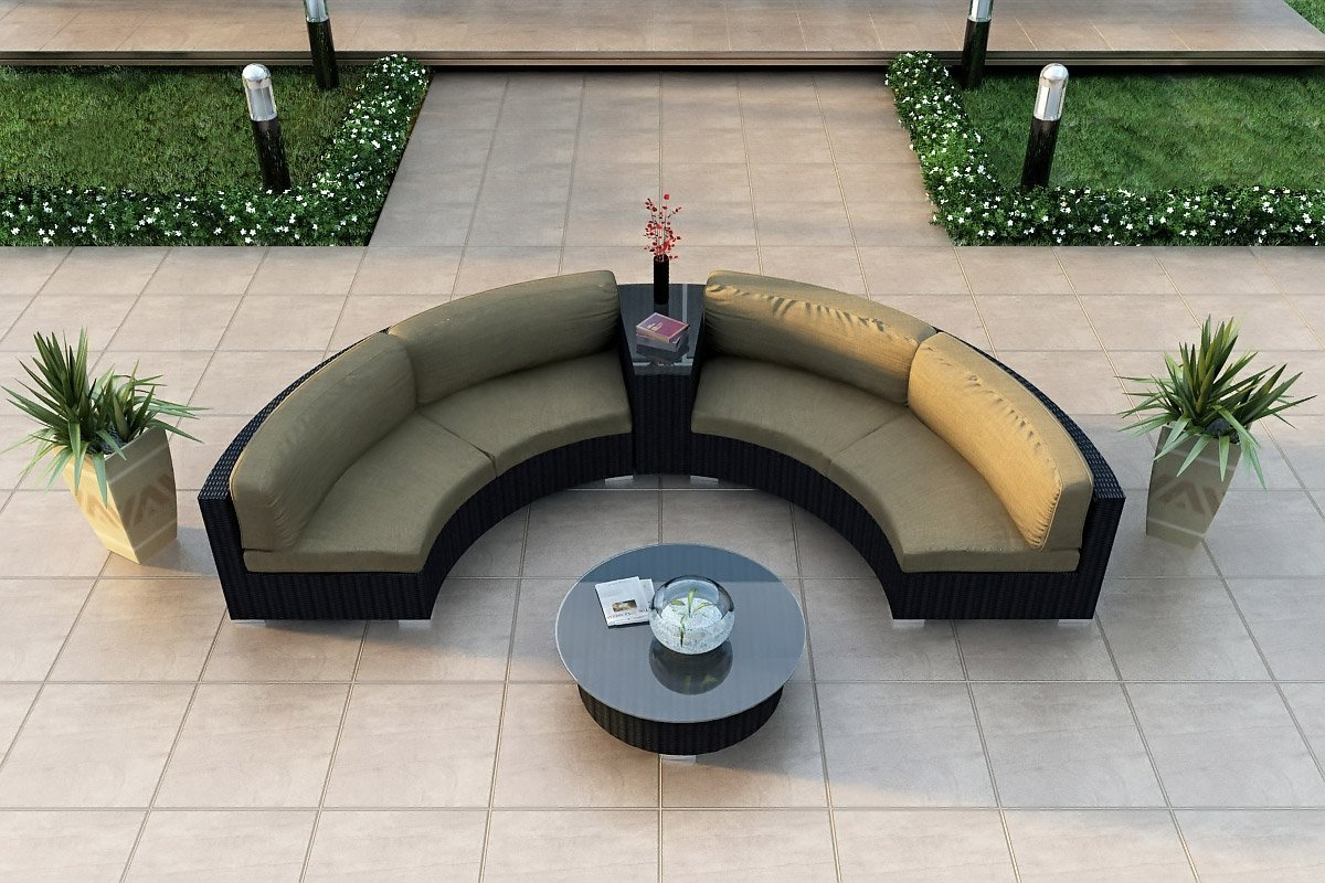 modern wicker sectional outdoor sofa sets curved outdoor sofa. Black Bedroom Furniture Sets. Home Design Ideas