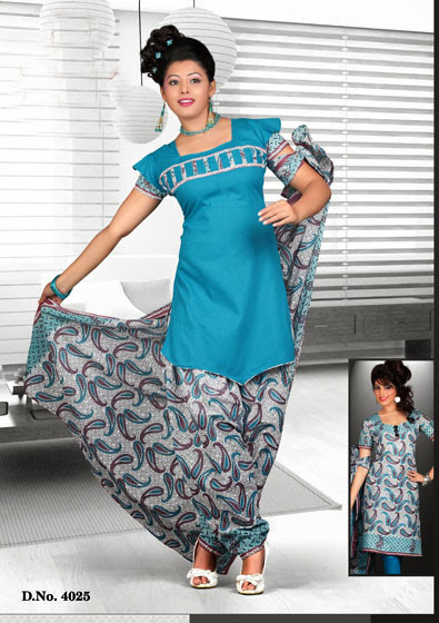 Pure Cotton Unstitched Printed Dress Material With Dupatta-Online Shopping