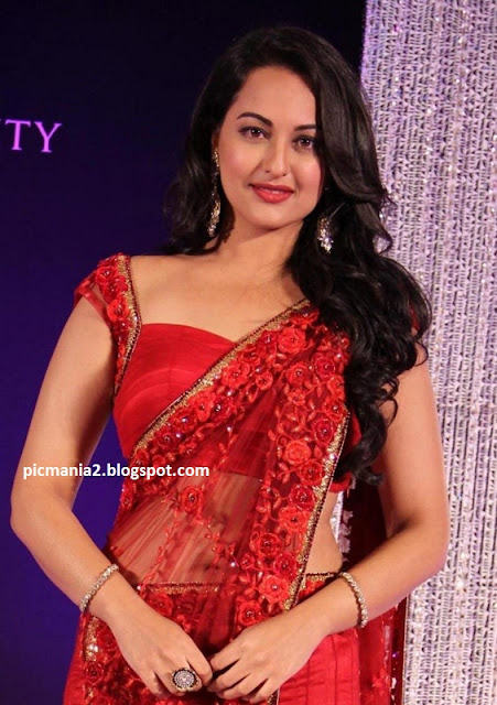sonakshi sinha sexy transparent saree showing navel and cleavages