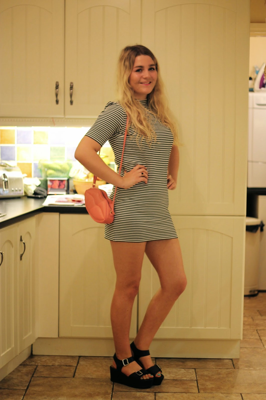 Forever 21 Stripe High Neck Dress