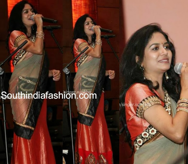 Singer Sunitha in Half Saree